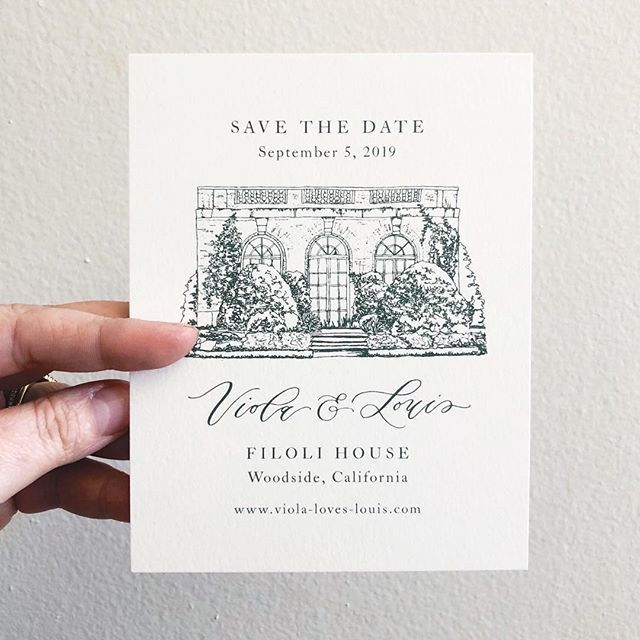 It seems so crazy that we're booking for 2020 already, but here we are and 2020 clients are starting to think about designing their save the dates. My typical turnaround for custom design work is 2 months from concept to print, and we only take 4 custom jobs per month — so we're getting started on those spring 2020 weddings! Luckily, we are offering this semi-custom save the date featuring a line-drawn venue illustration, which will allow clients to have a slightly shorter turnaround of 4-6 weeks! I usually do a horizontal version to make room for wider buildings, but in this case it made sense to do it vertically and I love how it showcases the garden house at Filioli!