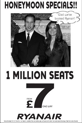 Ryanair saw an opportunity to promote flight deals on the back of the announcement of Prince William and Kate Middleton's royal engagement in 2010.