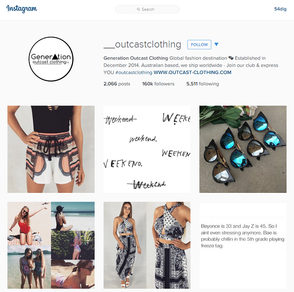 Online fashion company Generation Outcast Clothing leveraged the Instagram social network to grow its brand profile and sales.