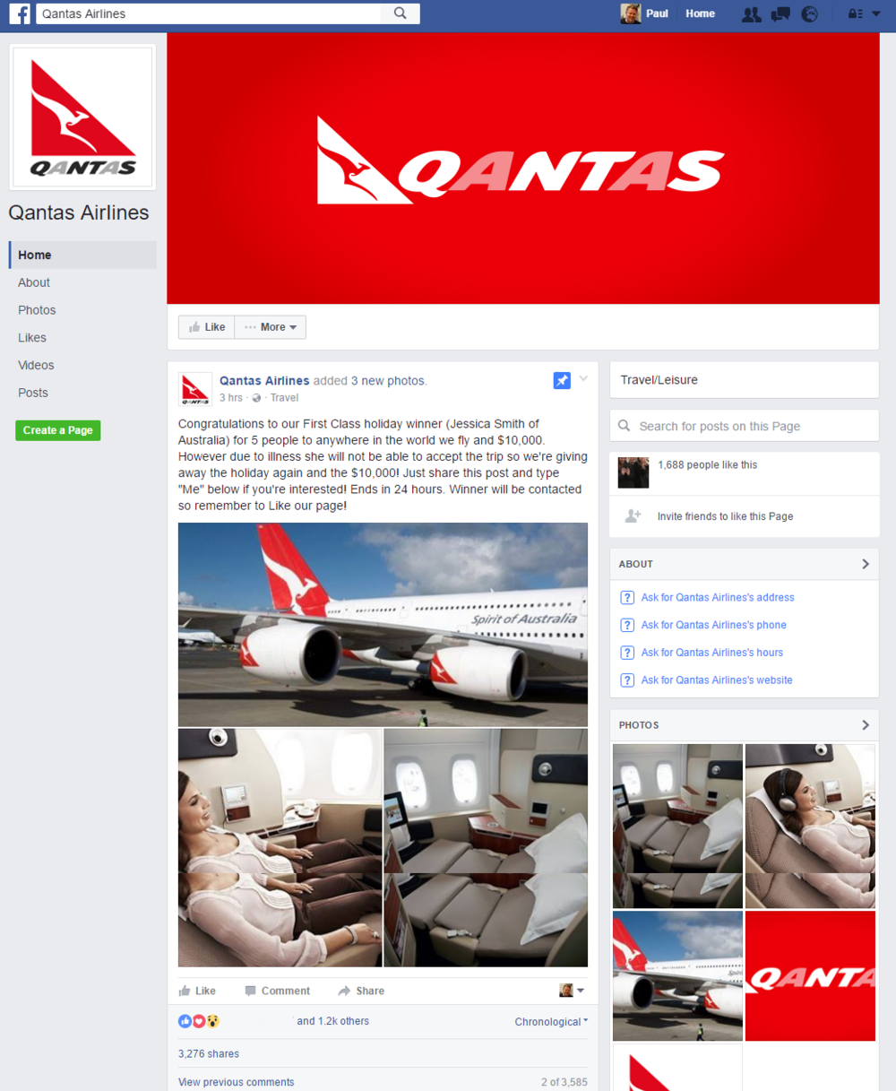 The fake Qantas profile is missing the blue verified tick beside its profile name (top left corner) and has only 1,688 fans (the real Qantas page has 888,000).