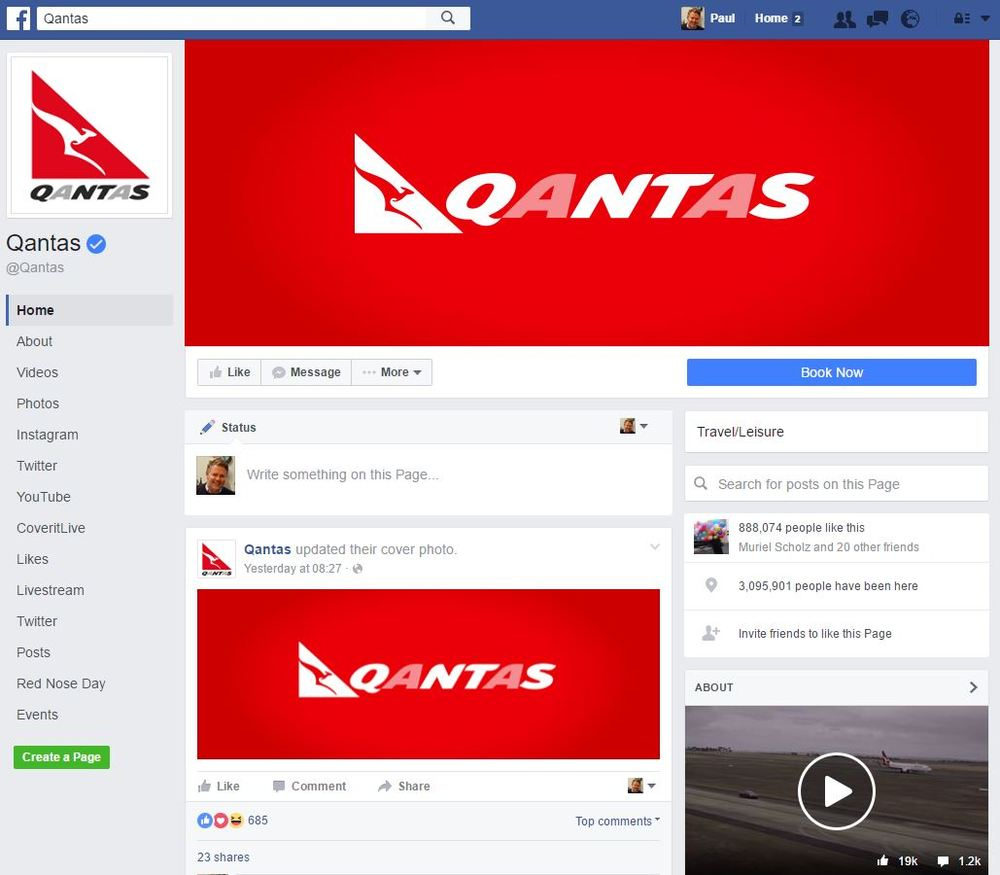 Note the verified tick for the authentic Qantas profile in the top left corner. The profile also has 888,074 fans which is what you expect from a household brand name (not the paltry 1,688 of the scam page).