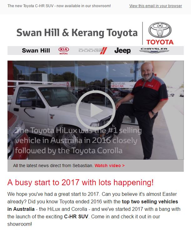 A section of the email marketing we produced for Swan Hill & Kerang Toyota in March 2017.