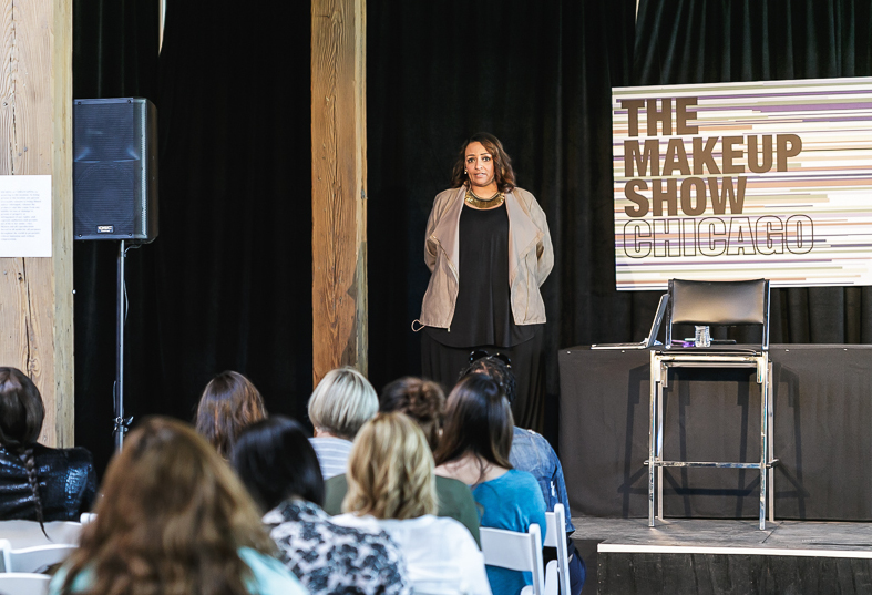 Lianne on stage in Chicago at her Keynote for The Makeup Show (June 2014)