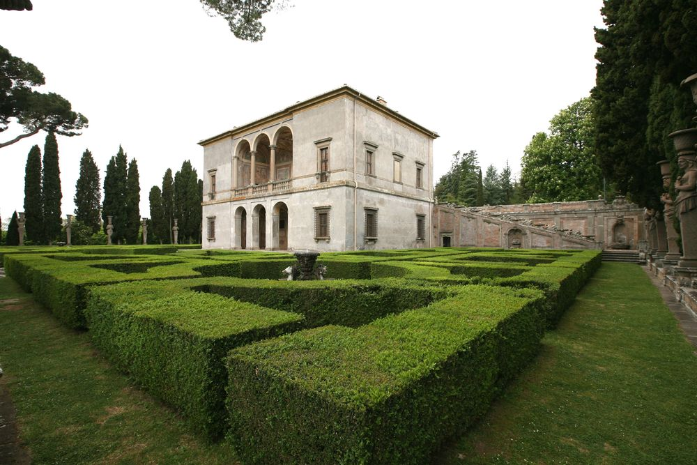 The upper building at Villa Farnese provides  great example of an Italian renaissance garden.  Note the order, symmetry, repetition, all in relation to the house. Viterbo, Italy, 1570's CE.