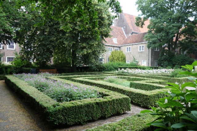 Good gardens separate us from the bustle of the outside world.   Cloister gardens such as this one at  Sint Agathaklooster,   Delft , the Netherlands uses buildings, high walls, and covered gateways to isolate the visitor from the world beyond.