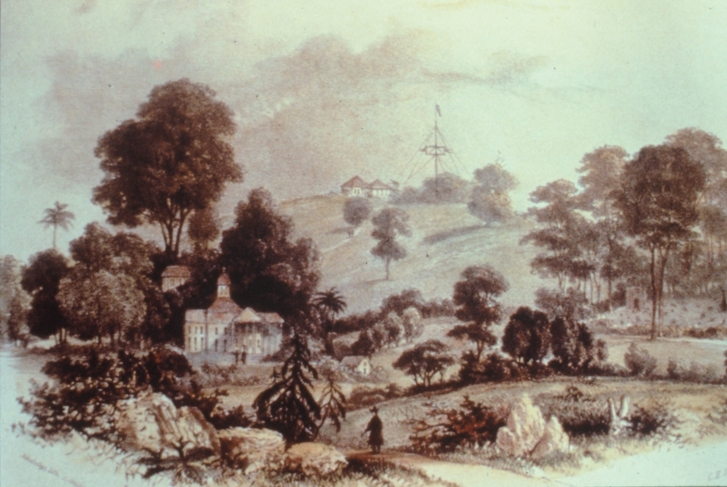 "1840 lithograph showing the Government Hill with some evidence of the first ""botanical and experimental garden"" in Singapore.  Source: The Singapore Botanic Garden."