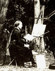 Photograph of Marianne North at her easel. Her paintings are on display at Kew Gardens.  Source: PlantExplorers.com