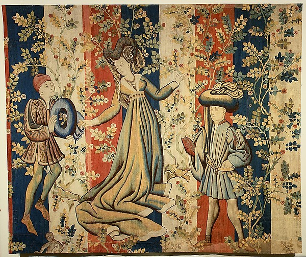 A tapestry called Courtiers in a Rose Garden. 1440-50, South Netherlands.  Source: The Metropolitan Museum of Art.