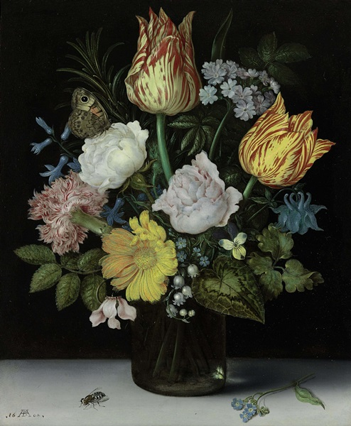 Ambrosius Bosschaert the Elder,   Still Life Of Variegated Tulips, Roses, A Hyacinth, A Primrose, A Violet, Forget-Me-Nots, A Columbine, Lily Of The Valley, A Cyclamen, A Marigold And A Carnation.    Sold for $4.6 million in 2014.    Courtesy of Sotheby's.  Source:  Artnet News