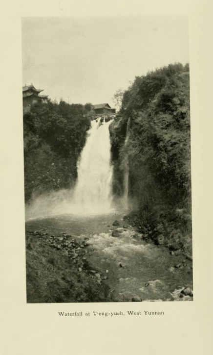 "Photo from book. ""Waterfall at T'eng-yueh, West Yunnan"""