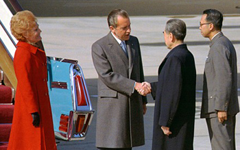 The Nixons meet Zhou in Beijing outside of Air Force One, 1972.  Source:  USC- US China Institute.