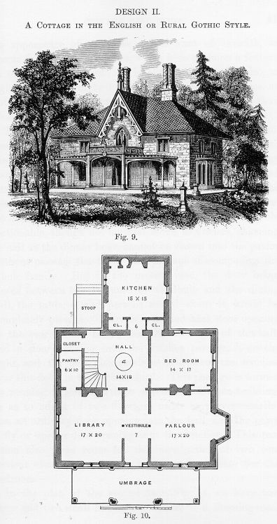 One of the house styles and suggested floor plans prepared by Downing.