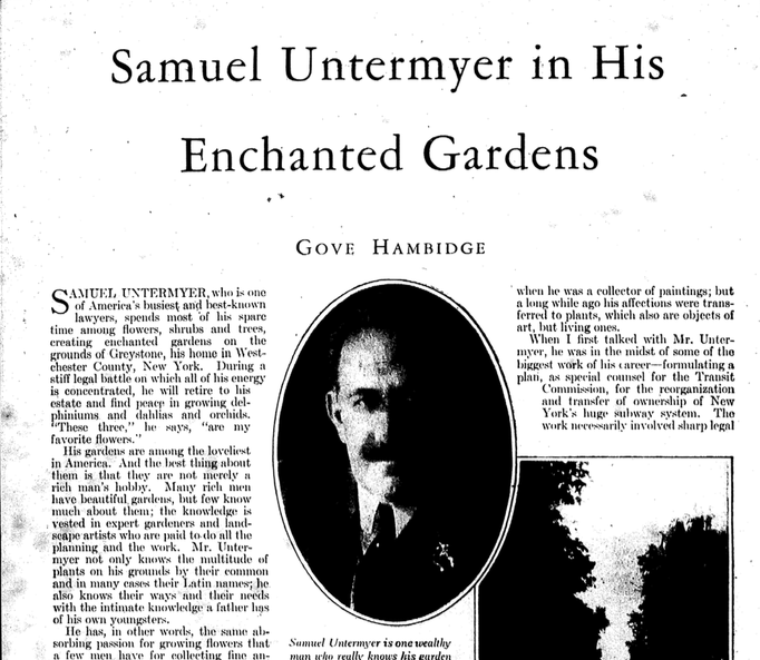 "The Untermeyer Garden Conservancy is rich with history about the garden including this feature, ""Enchanted Garden"" that ran in  Better Homes and Gardens  in 1928."