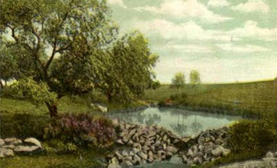 Around 1900, Horatio Buckenham took over the landscape design.  Mud Lake,  c. 1907.  Mud Lake was created by constructing a dam on Duke Brook. Source: Duke Farms