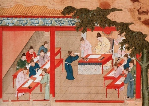 In 7th century, the Chinese government established the standard Imperial Examination to select candidates for lucrative government positions.  Our scholar gardeners would have passed a similar exam.