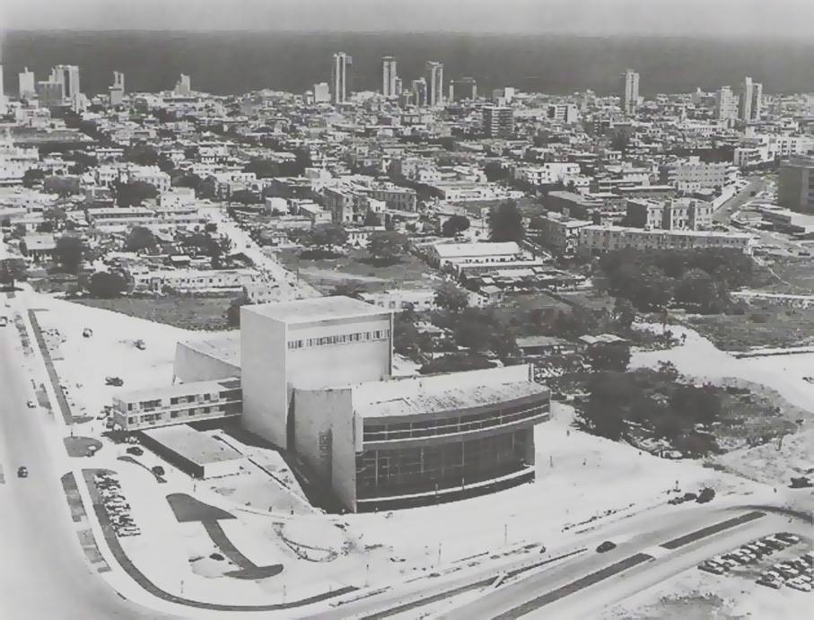 Photo of the theater construction before the garden was installed. 1959 Source: bestguidecuba.com