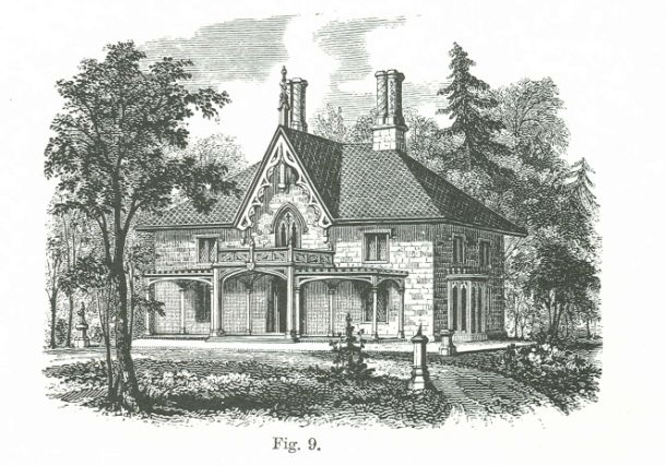 An illustration from Downing's book on what the landscape around a Victorian cottage should look like.