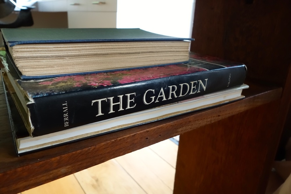 Wright's books show that his influences included Japanese prints, Persian gardens and pavilions, and here we see Julia Berral's  The Garden: An illustrated history.