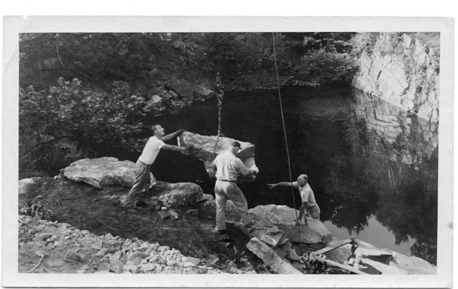 Russel Wright directing workers moving boulders at Manitoga. Source: curbed.com