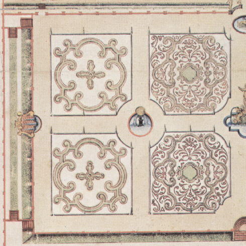 The parterre as designed by Christiaan Pieter van Staden.  These drawings were used to restore the gardens.