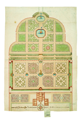 Christiaan Pieter van Staden's drawing for Het Loo's upper and lower garden.