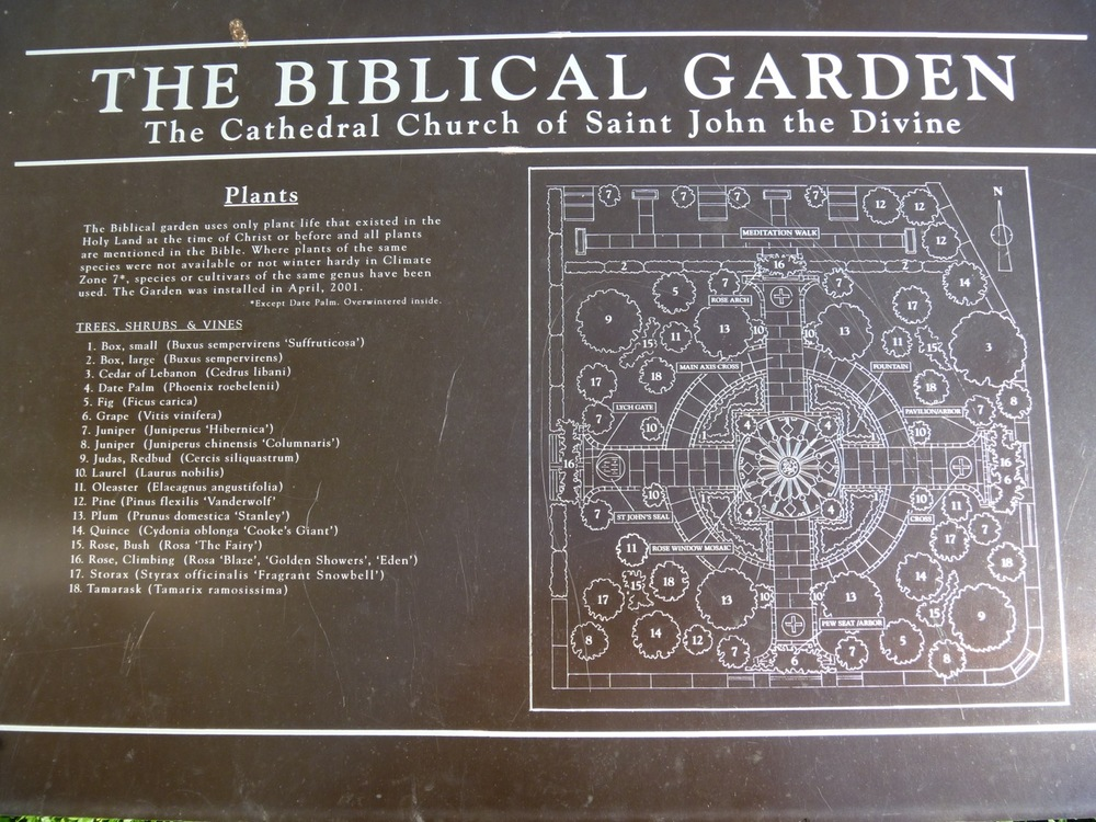 A plaque in the garden provides a plant list and bird's eye view of the design.