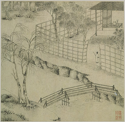 "A Wen Zhengming painting from 1535 of the Humble Administrator's Garden.  ""In 1527, after an unhappy stay in Beijing, Wen Zhengming returned to Suzhou, where he was given a studio in the garden. In an album dated 1535, Wen depicted thirty-one views of the site."" Source:  The Met Museum ."