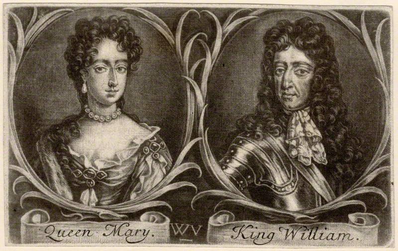 Queen Mary II and King William III by Wallerant Vaillant, after Unknown artist mezzotint, 1677. c. National Portrait Gallery, London.