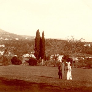 "Hortense and Arthur Acton at Villa La Pietra in 1903.  At that time the landscape was in the English picturesque style.  Acton would spend his life ""restoring"" the garden with the axes and terraces you see above. Image: NYU Villa La Pietra"