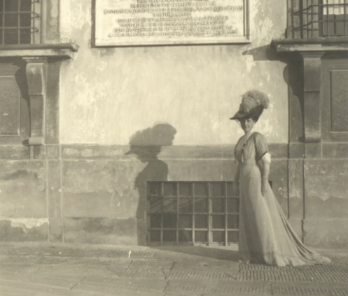 Hortense Mitchell in front of Villa La Pietra.  Her wealth funded the restoration.  Image source:  NYU Villa La Pietra.