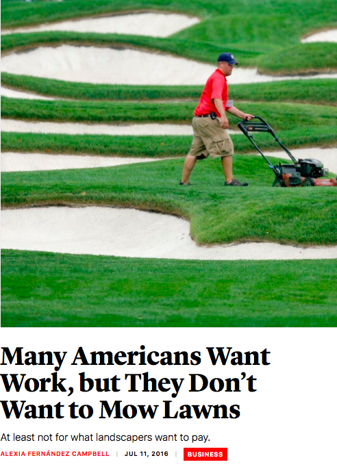 Landscaping has drawn immigrants who find high demand for their hard work.  Many go on to establish successful businesses.