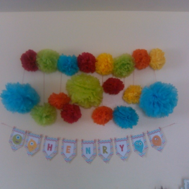 Today we photographed an adorable monster party.  Anybody local want the pom poms?