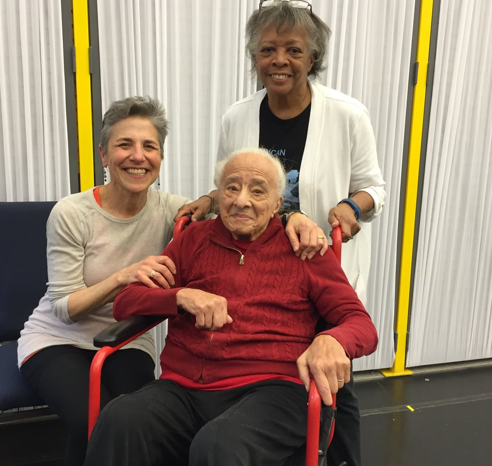 Olive Adams, smiling after the community dance workshop, with her daughter Julie Strandberg and Rachel Balaban.