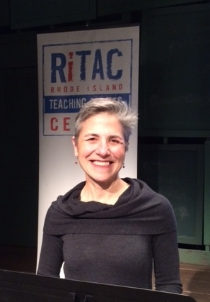 Rachel Balaban speaking at the RITAC 6 x 6 event at the Gamm Theatre