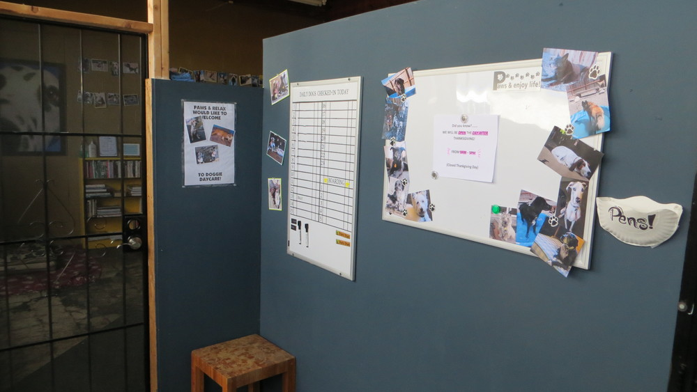 Paws & Relax  foyer and announcements boards