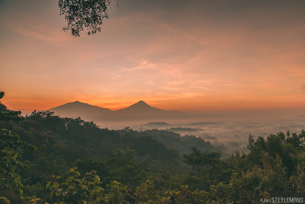 sunrise over borobudur