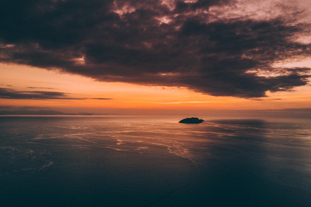 36. Aerial sunset, Seraya Island, Indonesia