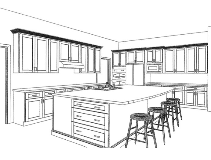 One Point Perspective Drawing Kitchen Island