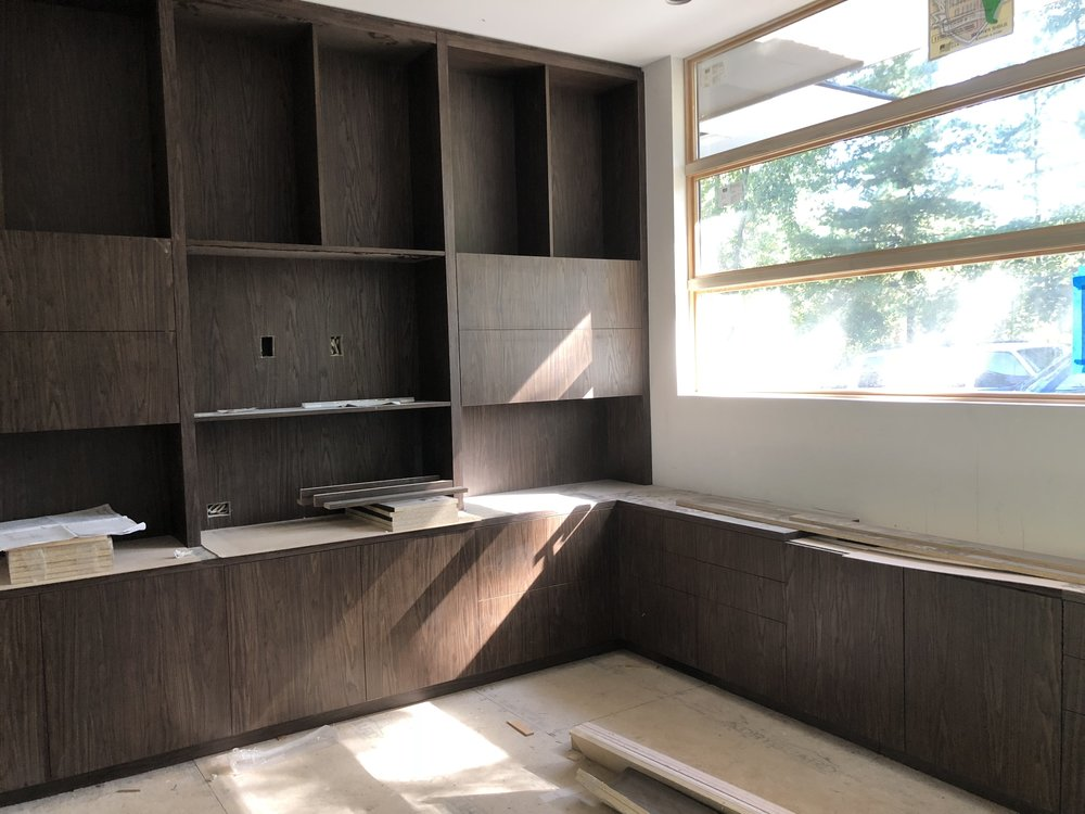 the office outfitted with custom cabinetry