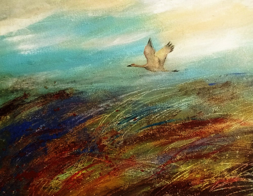 """Going Home"" Sandhill Crane  Sold"