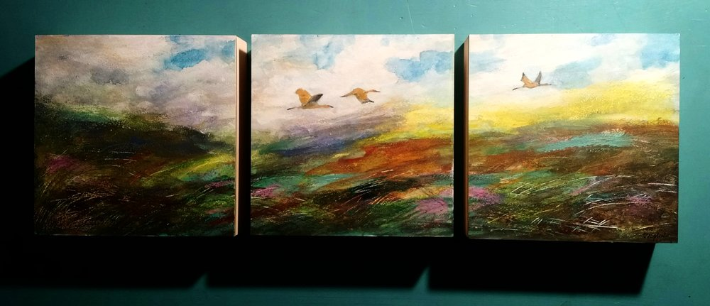 """Driftless Soaring Triptych on 1.5"""" deep individual board  SOLD"""