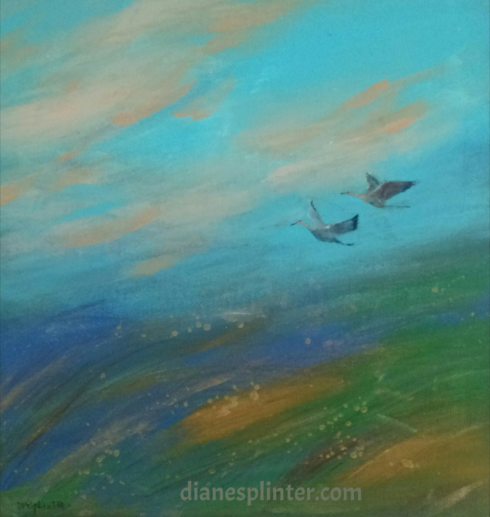"""Return"" a 10 x 10 inch acrylic on canvas, ready to hang. Love those cranes!  Sold"