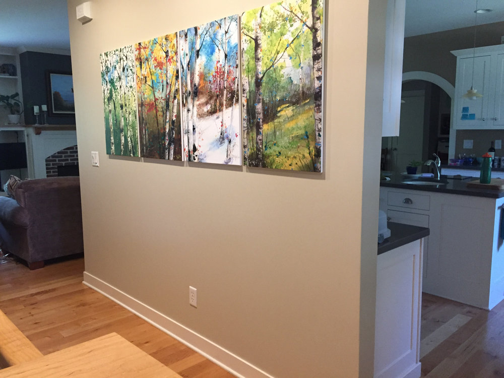 Four Season prints of my birch trees in a customer's home. These come with a money-back, statisfaction guarantee from my online link at  Fine Art America