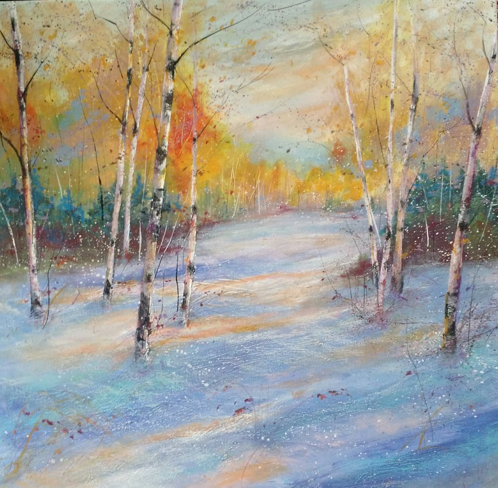 "Birch Winter Magic 24"" x 24"" on gallery wrapped canvas - sold"