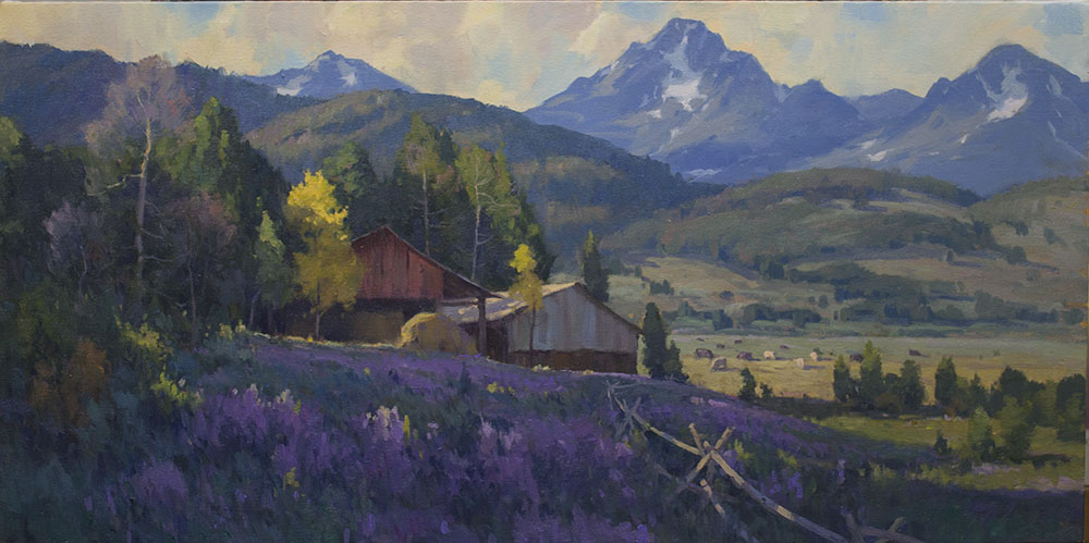 Buffalo River Valley, oil, 18 x 36.      Available at the Settlers West Great American West Show, November 22, Tucson, AZ
