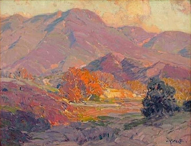 This is a painting by Hanson Puthuff and all the colors in the sunlight are effected by orange, even the purple mountains are effected with the orange light.