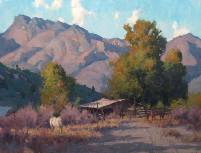 This is a painting I did in Tucson, I applied orange or yellow orange to all the local colors in the low sunlight.