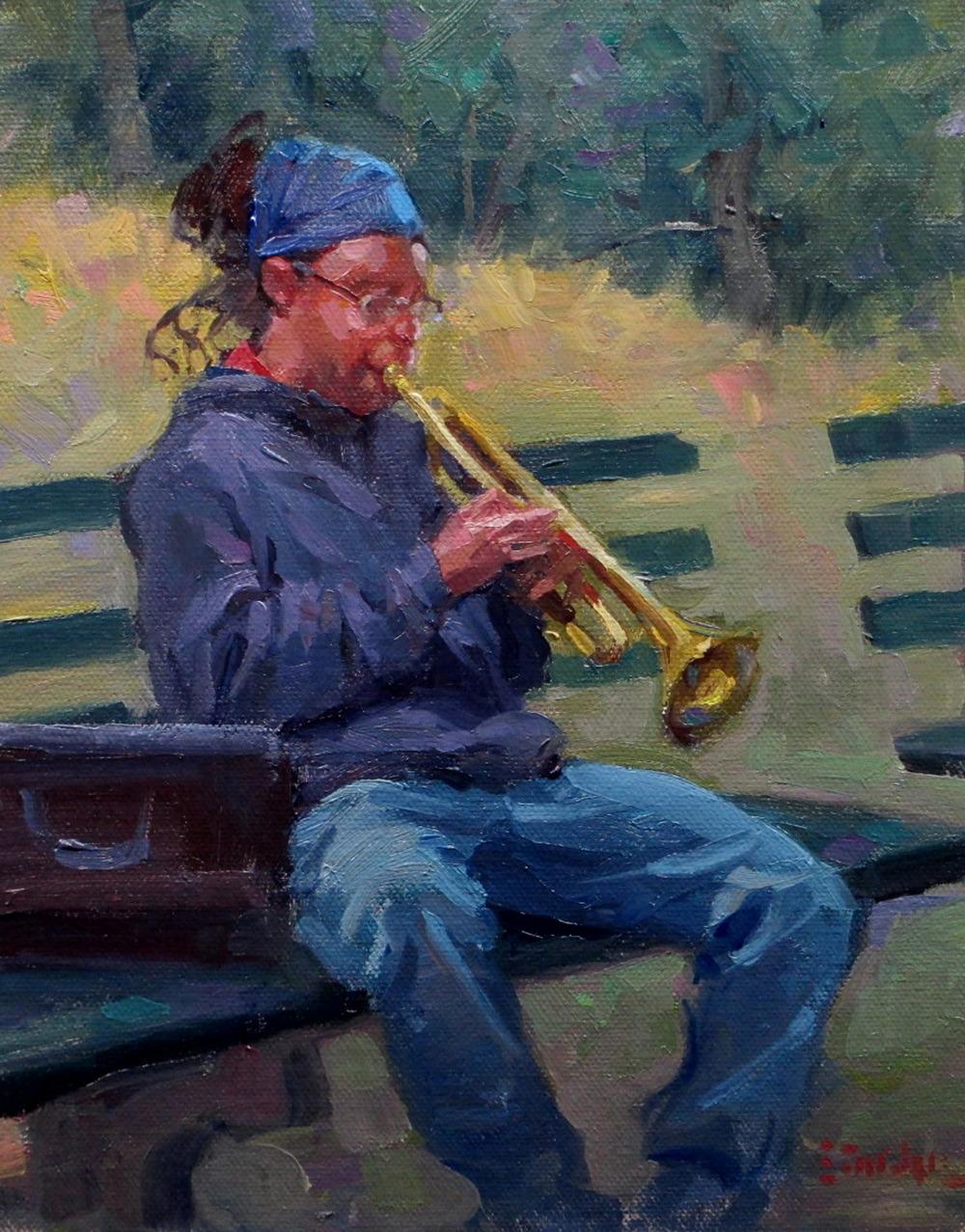 Trumpet Player Central Park 9x12.jpg