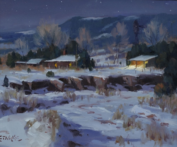 Winter Night, Tucumcari, NM - oil - 10 x 12