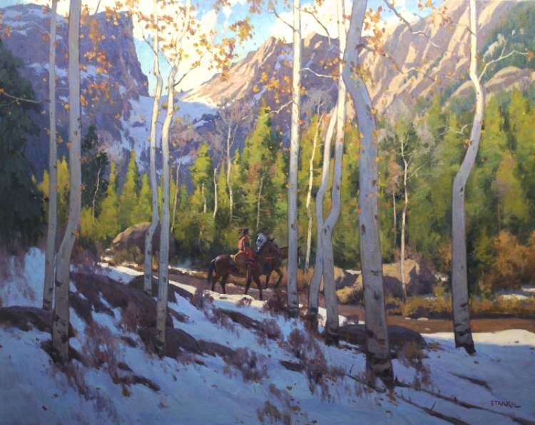 Winter Morning In The Rockies - oil - 40 x 50 - Available Through Big Horn Galleries, Cody, WY.